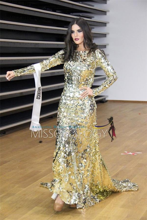 Hoa hậu Mexico diện váy ánh kim nổi bật.