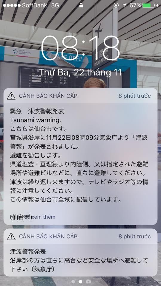 Thông báo động đất sóng thần được gửi đến người dân. (Ảnh: Con Trai Bố Kiểm)
