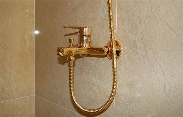 Cả cụm vòi hoa sen và dây đều được mạ thêm một lớp vàng.