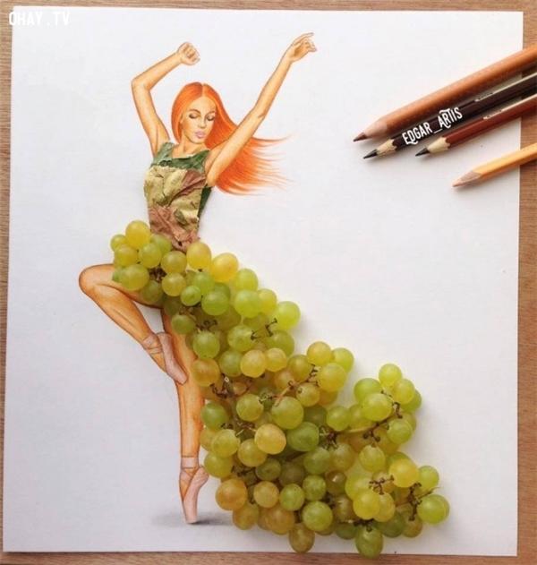 Những trái nho cũng làm cho bộ sưu tập thêm đa dạng.
