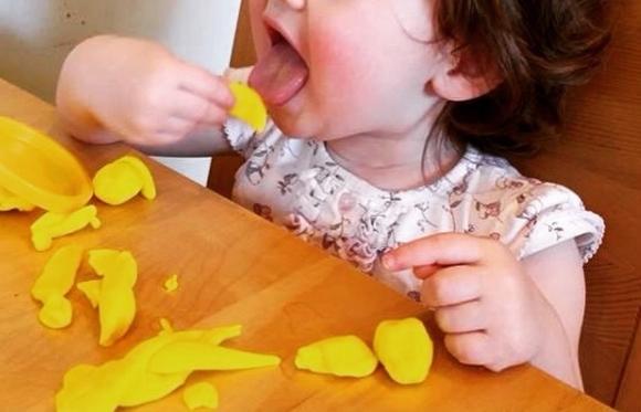 Ăn cả đồ chơi và đất sét để nặn tượng.
