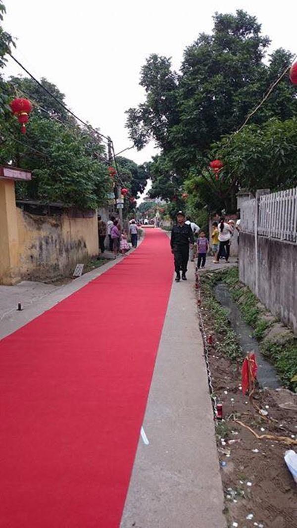 Thảm đỏ được trải dài cả cây sốđể đón cô dâu.(Ảnh: NVCC)