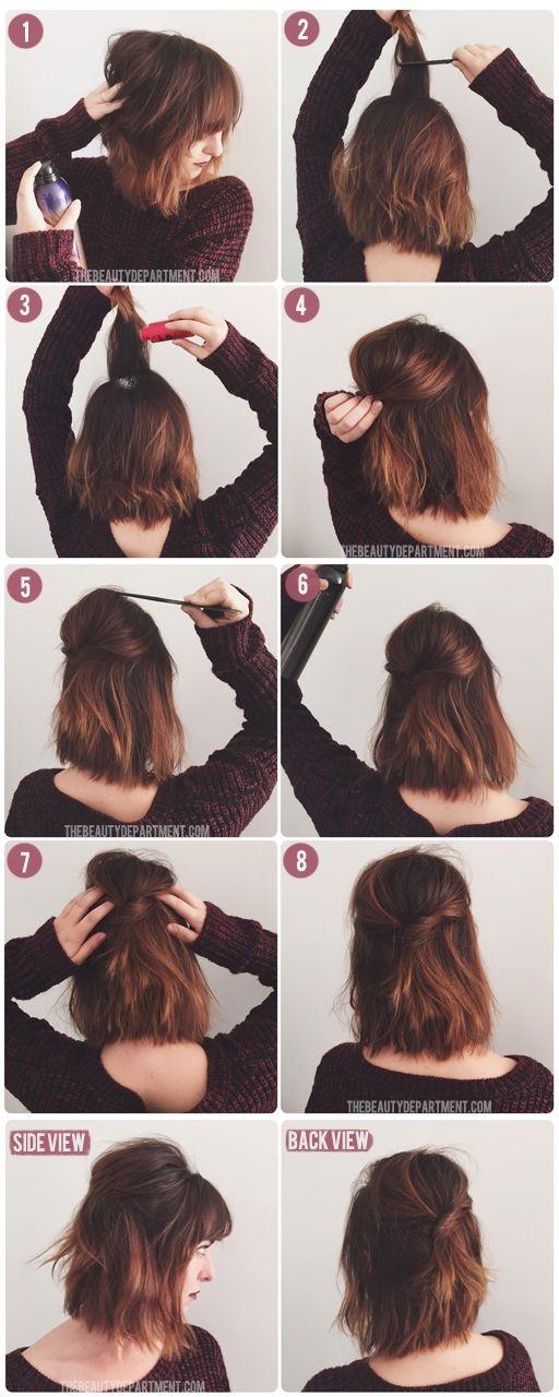 Những cô nàng muốn làm điệu nhưng không có thời gian cho mái tóc có thể tham khảo kiểu tóc đơn giản này.