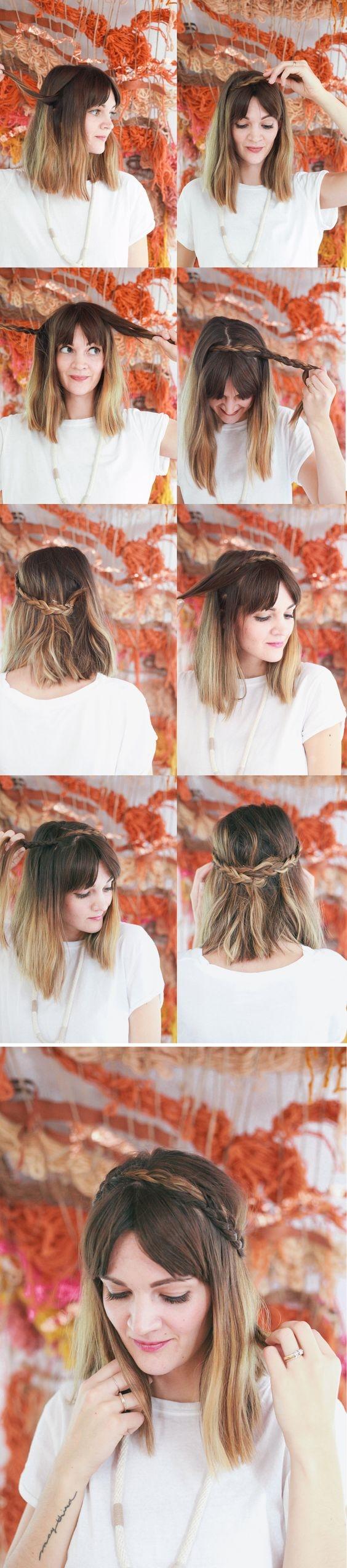 Bạn cũng có thể tết tóc quanh đỉnh đầu như cô nàng trên. Kiểu tóc này rất hợp với những nàng yêu thích sự nữ tính, lãng mạn.