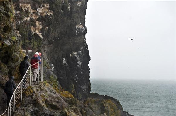 Du khách khám phá con đường The Gobbins ở Antrin, Bắc Ireland.