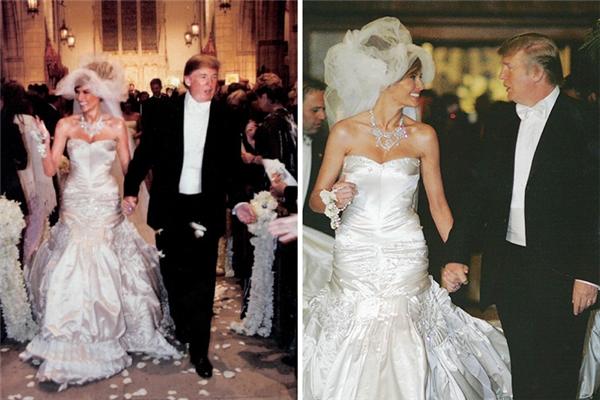 Melania Knauss chính là phu nhân của Tổng thống Mỹ hiện thời: ông Donald Trump. Thời điểm kết hôn với cựu siêu mẫu, ông đã sở hữu khối tài sản khổng. Váy cưới của Melania là thiết kế của nhà mốt Christian Dior. Vào thời điểm năm 2005, trị giá của chiếc váy cướinày là không hề nhỏ.