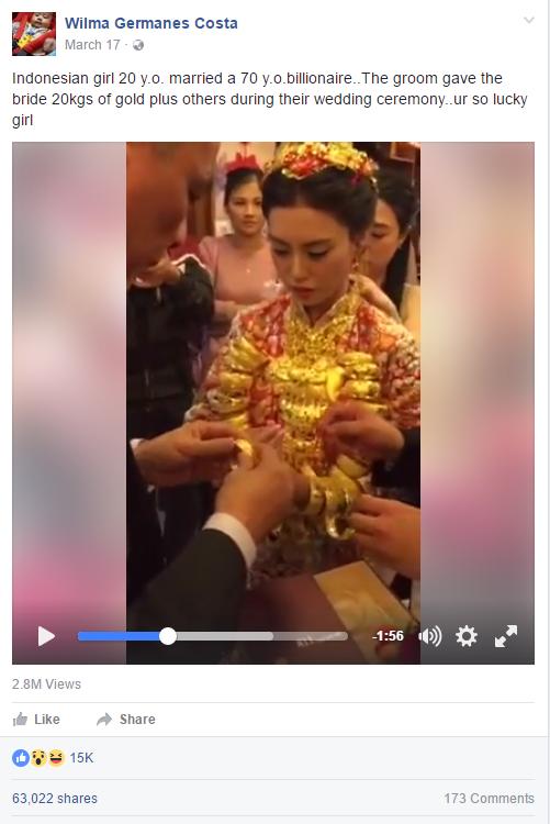 Cô dâu vàng là hình ảnh thường thấy trong thời gian gần đây ở Trung Quốc.