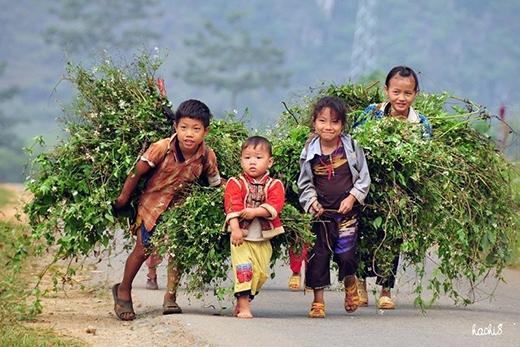 Những em bé vùng cao lấm lemvẫn giữ cho mình nụ cườitrong sáng từ ánh mắt.
