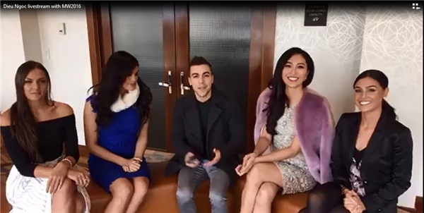 Trước khi bước vào phần ghi hình cho clip giới thiệu bản thân, 4 thí sinh: Việt Nam, Mỹ, Wales và New Zealand được ban tổ chức chọn để giao lưu với công chúng qua fanpage của Hoa hậu Thế giới (Miss World: https://www.facebook.com/MissWorld/). 4 cô gái xinh đẹp có khoảng 10 phút gia lưu trực tiếp với một MC nam.