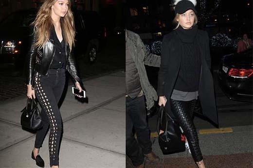 """Với cả 2 set đồ được người mẫu triệu đô kết hợp """"full đen""""cá tính và không kém phần quyến rũ."""