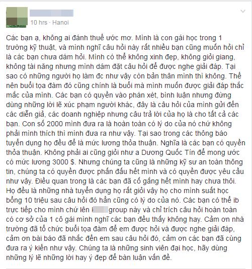 Bài chia sẻ của Phạm Thị Thanh sau khi nhận được phản hồi gay gắt từ phía dư luận. (Ảnh chụp mànhình)