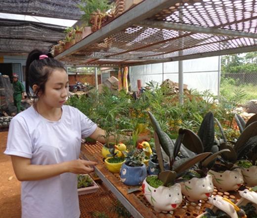Khu vườn rộng 2000m2 với hơn 1,000 loại cây cảnh khác nhau đã đem về cho cô chủ 9x thu nhập đáng ngưỡng mộ, đồng thời tạo việc làm cho người dân tại địa phương.