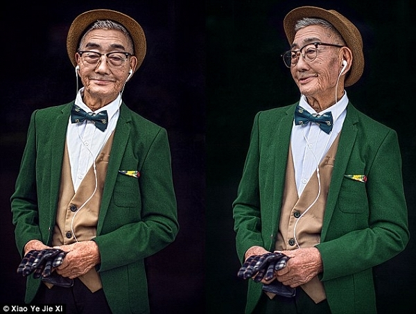 Phong cách ăn mặc mới mẻ rõ ràng làm cụ ông đã ngoài 85 trông có vẻ yêu đời hơn. (Ảnh: Xiao Ye Jie Xi)