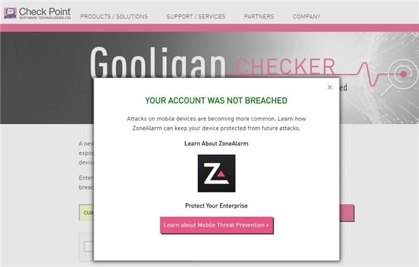 Kiểm tra xem bạn có đứng trước nguy cơ bị đánh cắp thông tin hay không nhờ vào công cụ của Check Poin. (Ảnh: internet)