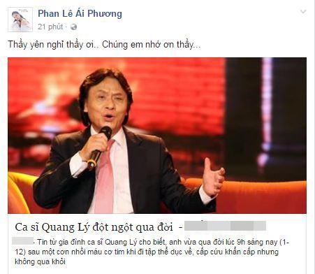 Cũng là một người học trò của NSƯT Quang Lý, ca sĩ Ái Phương đã buồn bã viết lời tiễn biệt thầy trên trang cá nhân. - Tin sao Viet - Tin tuc sao Viet - Scandal sao Viet - Tin tuc cua Sao - Tin cua Sao