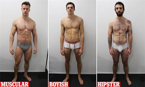 Từ trái sang: anh chàng cơ bắp, anh chàng có thân hình gầy gò như mới dậy thì, và anh chàng mảnh khảnh dáng thể thao.