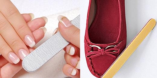 """Giũa móng tay không chỉ có công dụng làm đẹp hữu ích cho bạn gái, nó còn có thể là cây đũa thần """"hô biến"""" những đôi giày da lộn nhiều vết mòn và trầy xước trở nên như mới."""