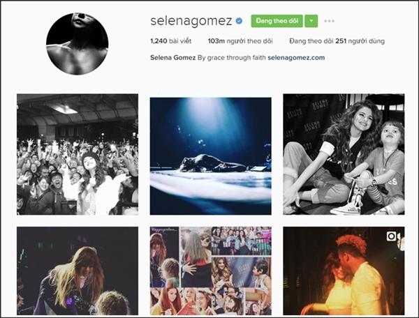Selena Gomez chính là ngôi sao sở hữu nhiều lượt theo dõi trên Instagram nhất với 103 triệu follow.