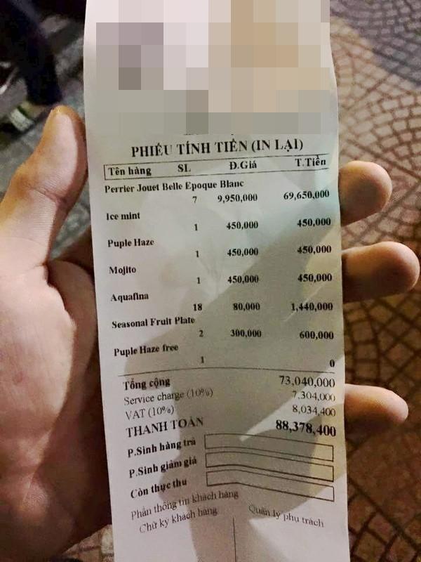 """Đây là hình ảnh hóa đơn thanh toán của một đoàn làm phim đi ăn uống. Sau 3 tiếng thì tất cả """"tá hỏa"""" khi chứng kiến số tiền phải trả lên tới hơn 88 triệu đồng.(Ảnh: Chụp màn hình)"""