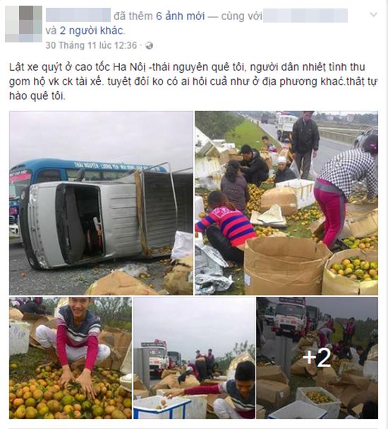 Hình ảnh người dân xúm vào thu gom cam giúp tài xế xe tải đã được nhiều người chia sẻ.