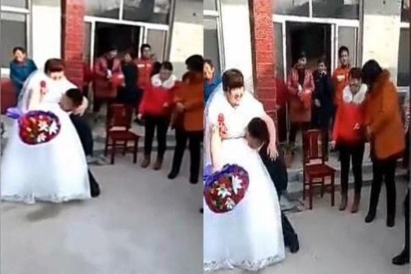 Anh chàng có ý định bế cô dâu của mình trước sự chứng kiến của mọi người.