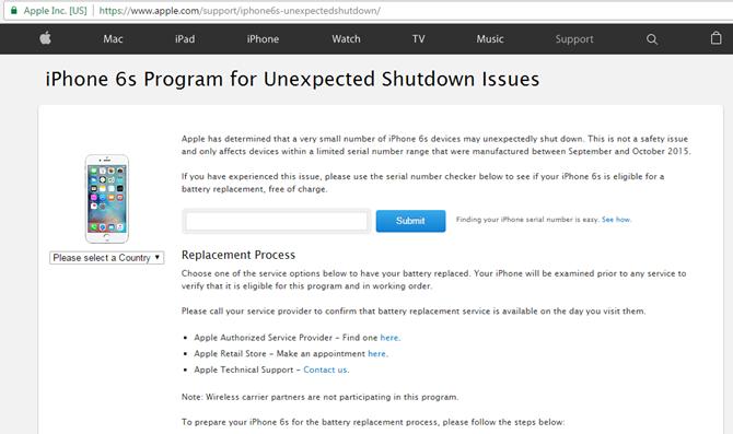 Giao diện trang web kiểm tra lỗi pin iPhone của Apple. (Ảnh: internet)