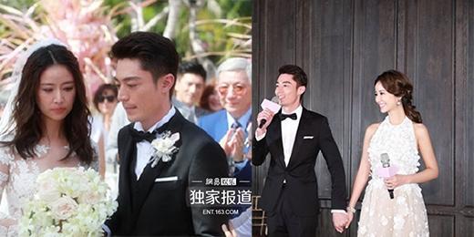 Khác xa với hình ảnh trong đám cưới Bali, anh Hoắc đã dành nhiều tình cảm, ngọt ngào với cô vợ mới cưới trong hôn lễ tại Đài Bắc.