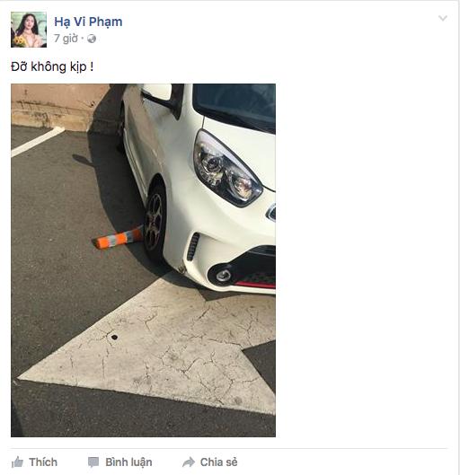 """Hạ Vi gặp phải một """"tai nạn"""" nhỏ trong khi tập lái xe. - Tin sao Viet - Tin tuc sao Viet - Scandal sao Viet - Tin tuc cua Sao - Tin cua Sao"""