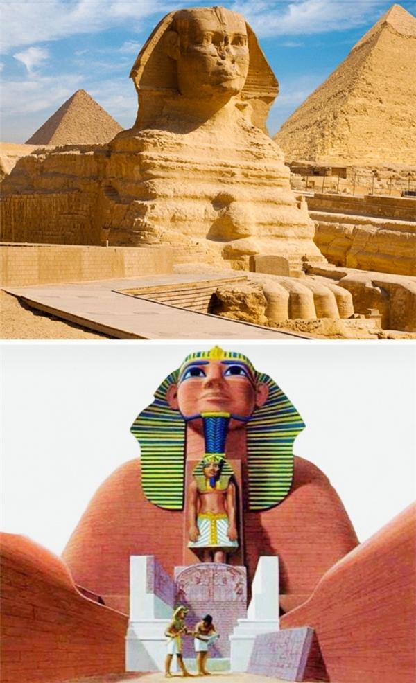 Ban đầu, tượng Nhân Sư ở Giza được trang trí bằng những lớp sơn phủ bên ngoài, có mũi và một bộ râu vô cùng uy nghi. Một số chuyên gia cho rằng tượng Nhân Sư ban đầu có cái đầu giống sư tử còn khuôn mặt người sau này mới được tạc. Điều đó lý giải cho sự chênh lệch tỉ lệ giữa phần đầu nhỏ và thân hình đồ sộ của tượng.