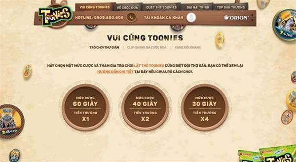 Hoạt động vui chơi cùng Toonies trên hệ thống website.