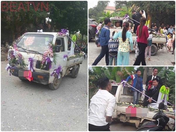 Chiếc xe tải đón dâu này đã khiến cộng đồng mạng vô cùng thích thú. (Ảnh: Facebook)