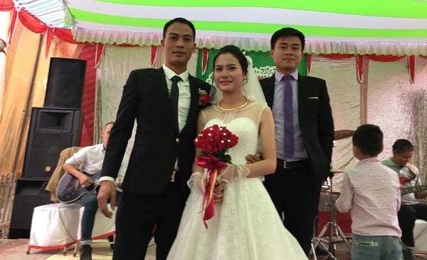 Chú rể Quang Phú và cô dâu rất xinh đẹp Tạ Thị Phương. (Ảnh: NVCC)