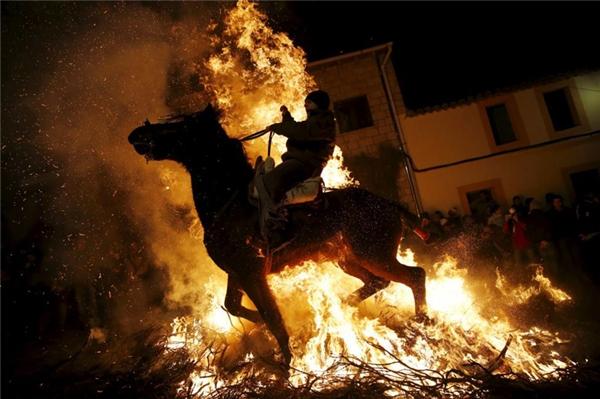 Một người đàn ông cưỡi ngựa băng qua đám lửa tại một lễ hội ở làng San Bartolome de Pinares, Madrid.