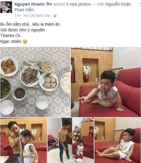 Trên trang cá nhân, Khánh Thi chia sẻ ảnh của chồng và con traivới nội dung tỏ vẻ hạnh phúc khi cô bị ốm nằm nhà, Phan Hiển đã thay cô lo cơm nước và chăm sóc Kubi tươm tất. - Tin sao Viet - Tin tuc sao Viet - Scandal sao Viet - Tin tuc cua Sao - Tin cua Sao