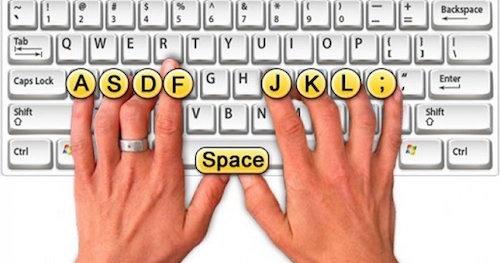 Gờ nổi trên phím F và J của bàn phím giúp người dùng định hướng khi gõ.