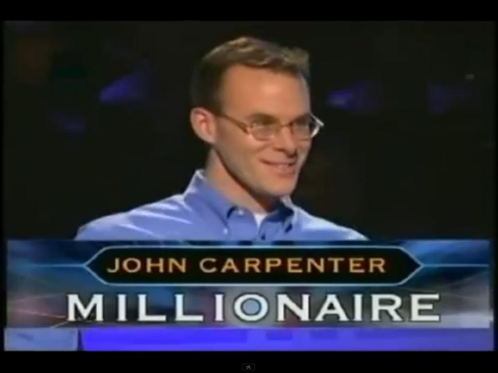 """John Carpentertrở thành người chơi đầu tiên lập nên kỷ lục trong gameshow""""Ai là triệu phú"""" tại Mỹ và trên toàn thế giới."""