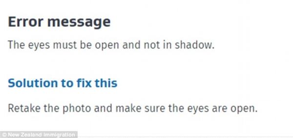 """""""Thông báo lỗi: Mắt phải đang mở và không bị bóng che. Giải pháp: Chụp lại ảnh và đảm bảo mắt đang mở."""""""