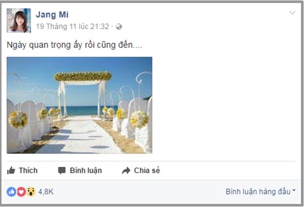 """Bối cảnh đám cưới cùng dòng caption: """"Ngày quan trọng ấy rồi cũng đến…"""" từ Jang Mi khiến fan xôn xao và """"đứng ngồi không yên"""". - Tin sao Viet - Tin tuc sao Viet - Scandal sao Viet - Tin tuc cua Sao - Tin cua Sao"""