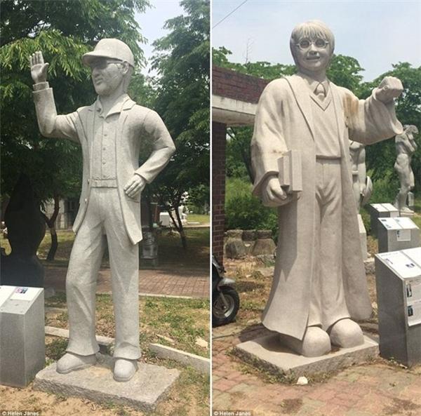 Bên trái là tượng đạo diễnSteven Spielberg và bên phải là nhân vật khá nổi tiếng và quen thuộcHarry Potter. (Ảnh: internet)