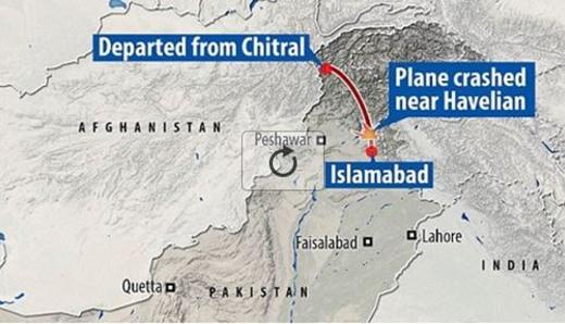 Hành trình bay của chuyến bay PK - 661 trước khi mất liên lạc và rơi xuống.