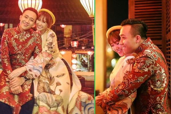 Áo dài truyền thống giúp cặp đôi thanh lịch, duyên dáng hơn.