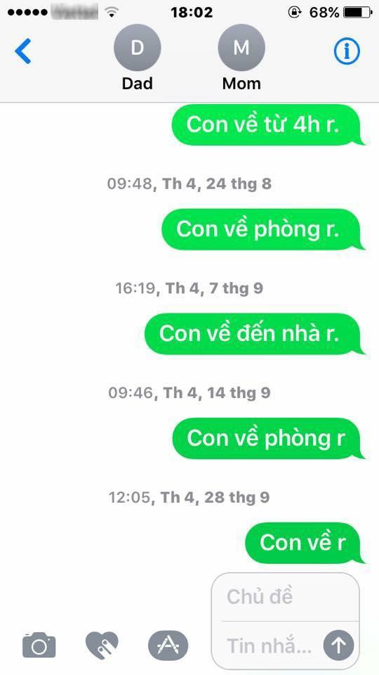 Ngất lên ngất xuống trước tin nhắn giữa bố mẹ và con của CĐM Việt