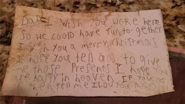 Những dòng thư đầy non nớt và chạm đến trái tim biết bao người của cậu bé Alexander. (Ảnh:Suzanne Womac Edwards)