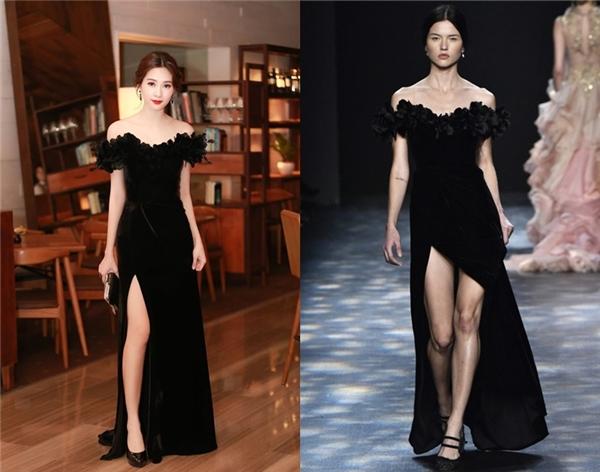 Bộ váy của Hoa hậu Đặng Thu Thảo được mang ra so sánh với một thiết kế của Marchesa. Thật khó để phân biệt hay tìm ra những điểm khác nhau giữa hai thiết kế.