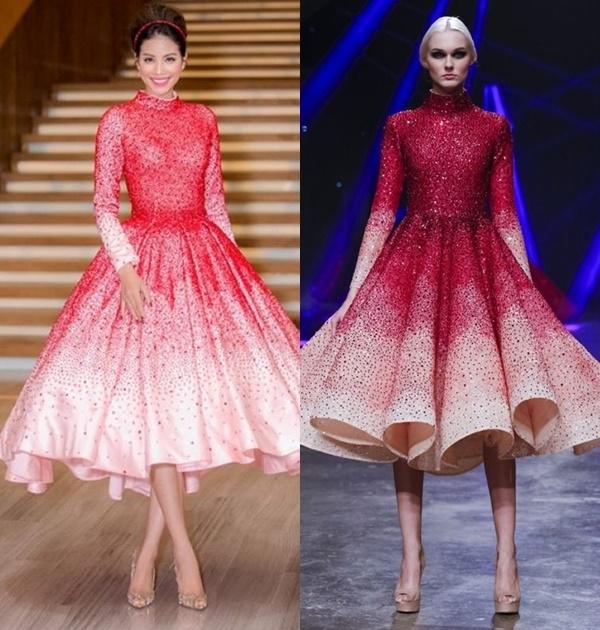 Trong khi đó, so về cấu trúc, màu sắc hay chất liệu, bộ váy của Hoa hậu Hoàn vũ Việt Nam 2015 Phạm Hương khác xa so với thiết kế của Michael Cinco.