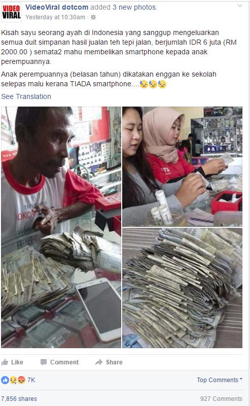 Xót lòng cha nghèo gom tiền bán trà đá mua điện thoại xịn cho con