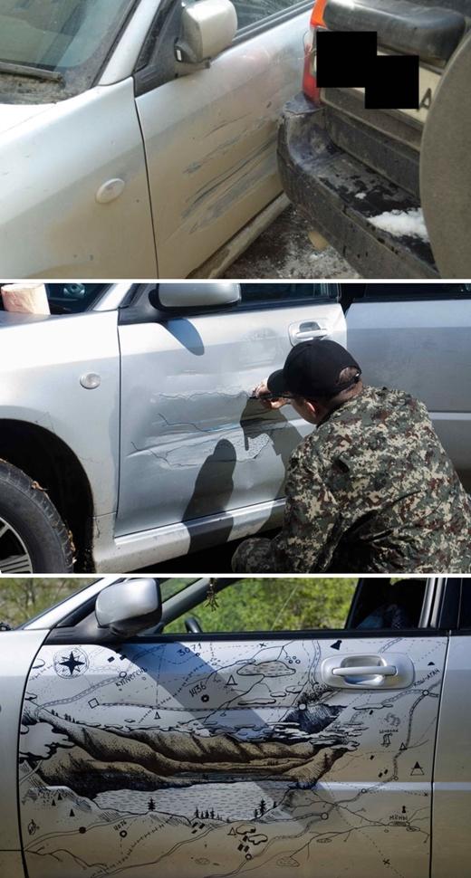 Ở Nga, một người đàn ông đã tận dụng những vết xước trên cửa xe hơi để vẽ nênmột bức tranh bờ hồ tuyệt đẹp.