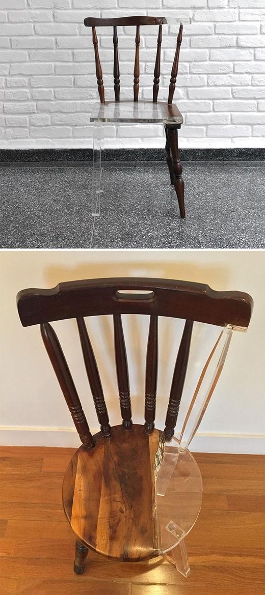 """Lấp đầy """"nửa kia"""" của chiếc ghế gỗ bằng nhựa trong suốt để tạo nên một thiết kế thật """"ảo tung chảo""""."""