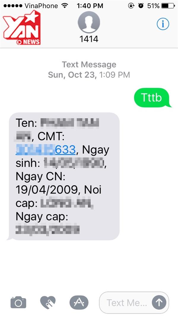 Soạn TTTB gửi đến số 1414 (miễn phí) để kiểm tra thông tin thuê bao.