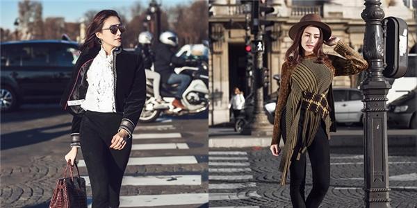 Trên đường phố Paris, Lê Hà hóa thân thành một quý cô thành thị hiện đại, cá tính nhưng không kém phần sang trọng với những tông màu trầm đặc trưng của mùa Thu - Đông hay sắc trắng, đen tương phản cổ điển.